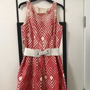 Work Dress White Coral Belt Size 12